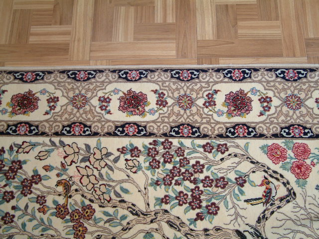 Isfahan Persian rug; All Persian Rugs are genuine handmade. Also, every Persian Isfahan rug I offer is made with fine kurkwool/silk.