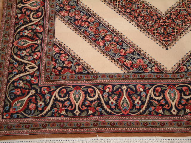 Qom Persian rug; All Persian Rugs are genuine handmade. Also, every Persian Qom rug I offer is made with pure silk only.