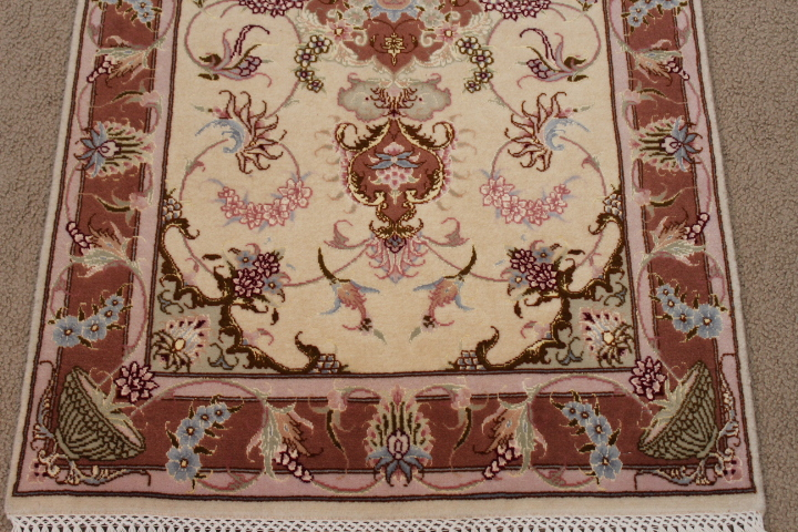 light 2x4 Tabriz Persian rug; 2x4 light colored handmade Tabriz Persian rug.
