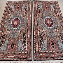 Medium 3x5 Gonbad Tabriz twin Persian rugs. Dome Des50475ign Gombad Twin Tabriz Persian carpets with silk.
