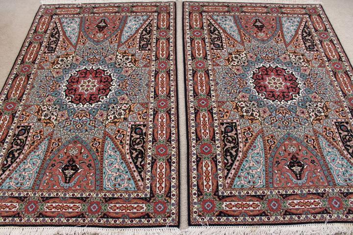 Medium 3x5 Gonbad Tabriz twin Persian rugs. Dome Design Gombad Twin Tabriz Persian carpets with silk.