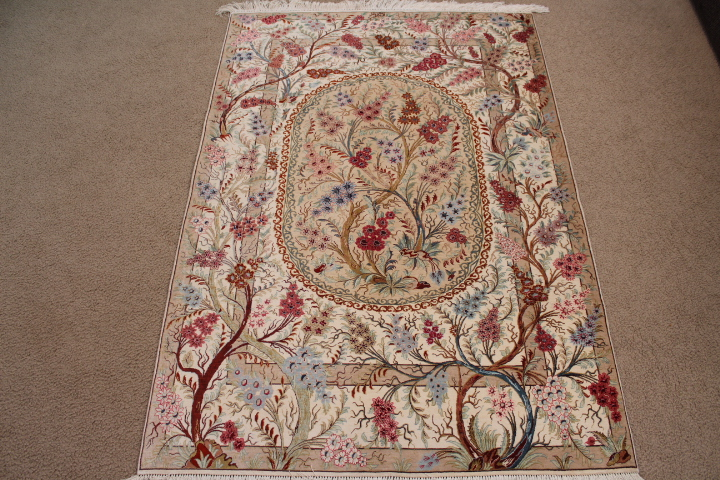 Pictorial Tree Of Life Silk Qom Persian Rugs 3208