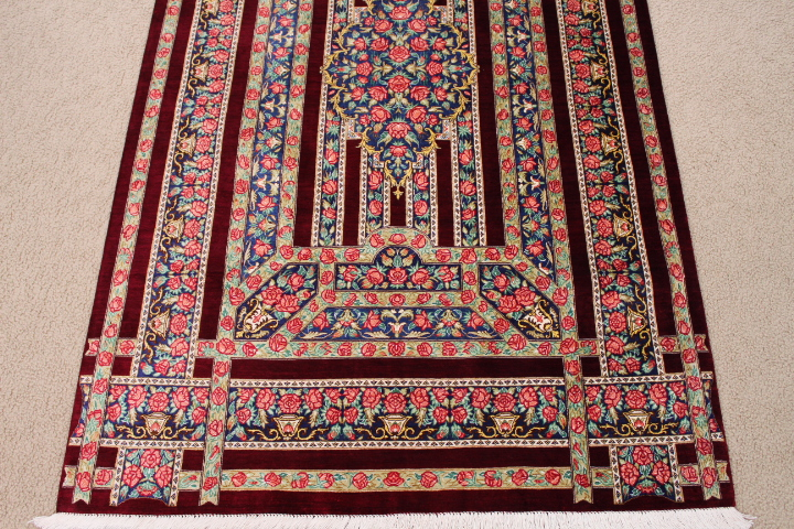 3x5 pure silk qom Persian rug; red qom masterpiece Persian Rugs genuine handmade. rare qum persian silk carpet.