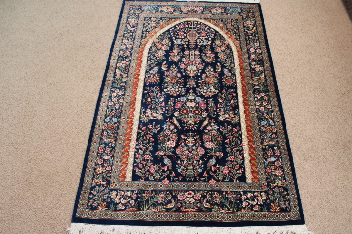 Pictorial Tree of Life Silk Qom Persian rug; Pure silk handmade qum carpet with a pictorial tree of life picture.