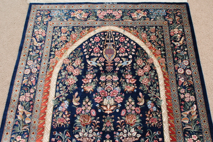 Pictorial Tree Of Life Silk Qom Persian Rugs 3210