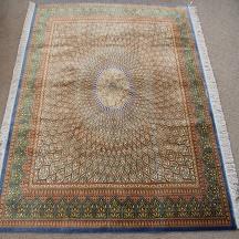 Square gonbad Qom silk Persian rugs. Square pure Silk Qum gombad Persian carpet Chappaqua.