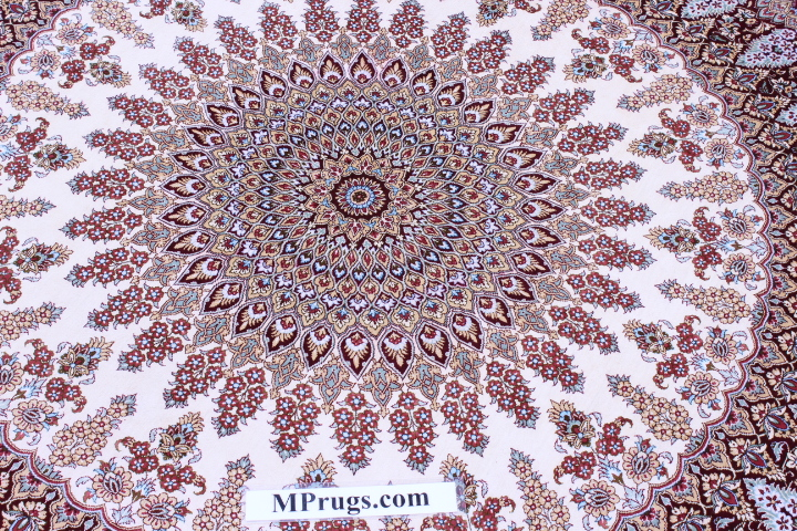 5' round Qom silk Persian rugs. Round pure Silk red beige Qum Persian carpet.