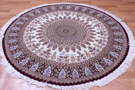 5' round Qom silk Persian rugs. Round pure Silk red beige Qum Persian carpet.