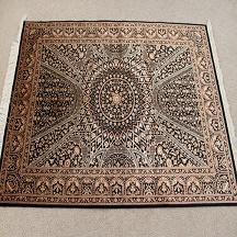 Black gold Gonbad Design Qom silk Persian rugs. Pure Silk Qum Persian carpet with the Gombad Dome design