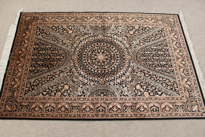 Black Gold Gonbad Design Qom Silk Persian Rugs Pure Qum Carpet With The