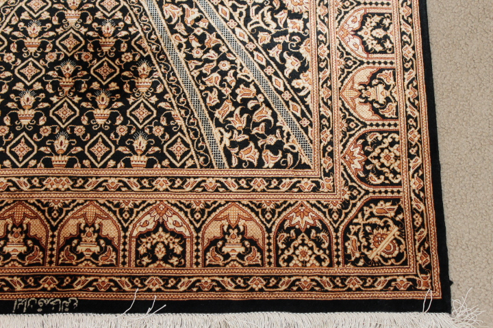 Black gold Gonbad Design Qom silk Persian rugs. Pure Silk Qum Persian carpet with the Gombad Dome design