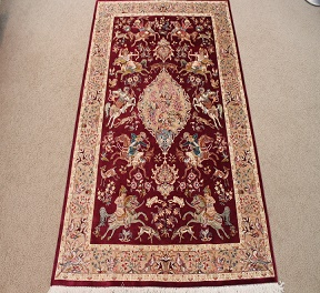 Pictorial 3x4 red Hunting Design Qom silk Persian rugs. Pure Silk Qum Persian carpet with hunting design.