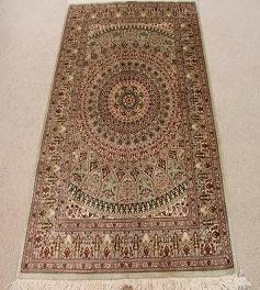 3x5 Gonbad Design Qom silk Persian rugs. Pure Silk Qum Persian carpet with the Gombad Dome design.