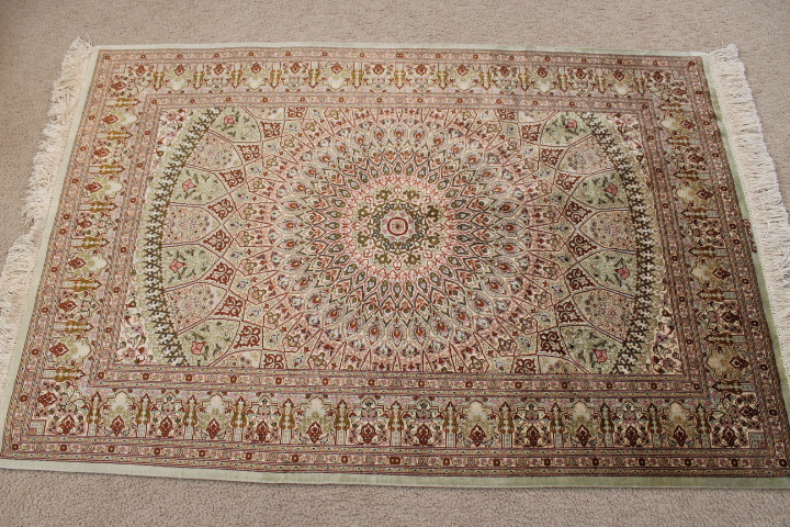 3x5 Gonbad Design Qom silk Persian rugs. Pure Silk Qum Persian carpet with the Gombad Dome design.