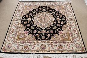 Square 5' 50 raj Tabriz Persian rug. 5x5 square Tabriz Persian carpet.