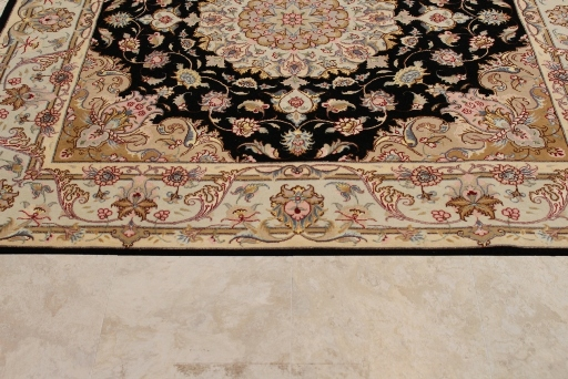 Square 5' 50 raj Tabriz Persian rug. 5x5 square Tabriz Persian carpet.