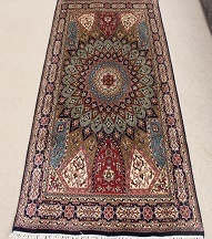 Silk Persian rug with Gonbad design, Gombad 3x5 Persian carpets.