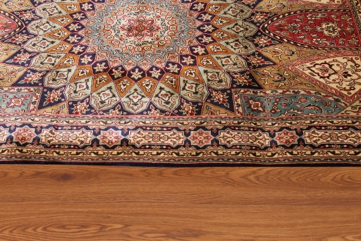5x3 Gonbad Indian Tabriz Persian rug; medium size silk Persian Rugs genuine handmade. gombad keshmir silk carpet.