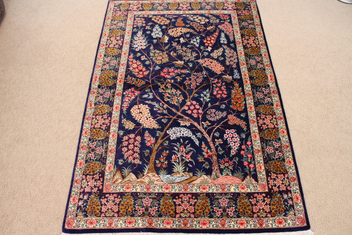 Tree Of Life Qum Silk Persian Rug