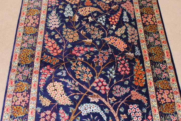 Pictorial Tree Of Life Silk Qom Persian Rug Pure Handmade Qum Carpet With A