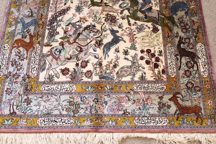 Pictorial Hunting Design Qom silk Persian rugs. Pure Silk Qum Persian carpet with hunting design