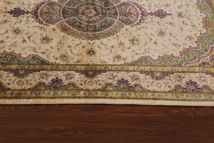 Gorgeous high quality pure silk Qom Persian rug. Genuine handmade silk qum Persian carpet showpiece featuring green and beige colors.