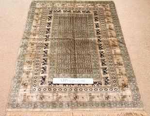 Pazyryk silk qum Persian Rug