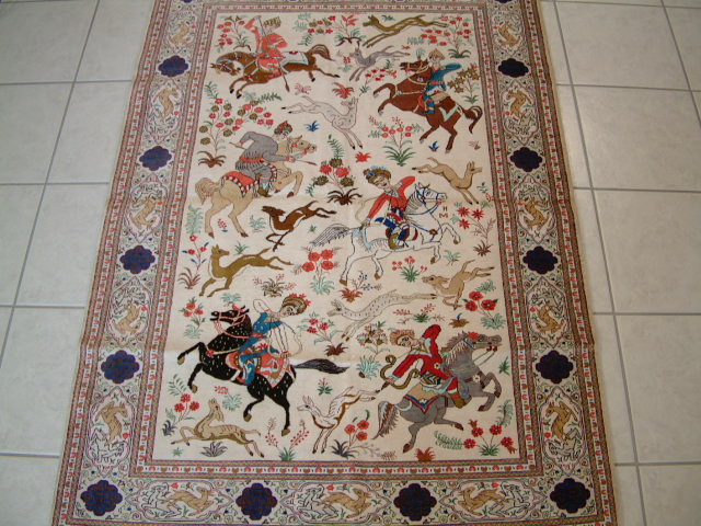 Qom Persian rug #3116, click on the picture or description for more details about the Persian carpets.