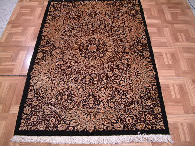 Qom PURE SILK Persian rug #3171, click on the picture or description for more details about the Persian carpets.