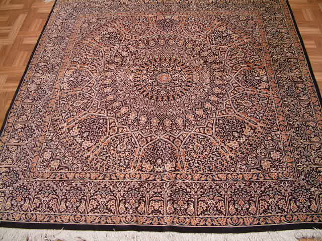 Qom PURE SILK Persian rug #3172, click on the picture or description for more details about the Persian carpets.