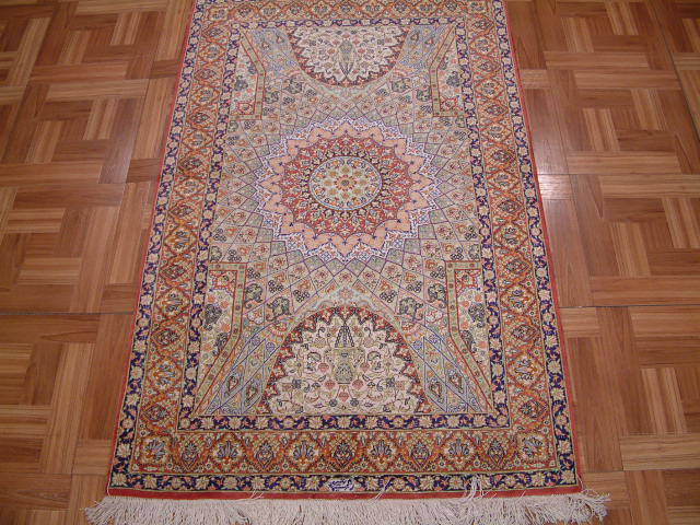 Qom Persian rug #3175, click on the picture or description for more details about the Persian carpets.