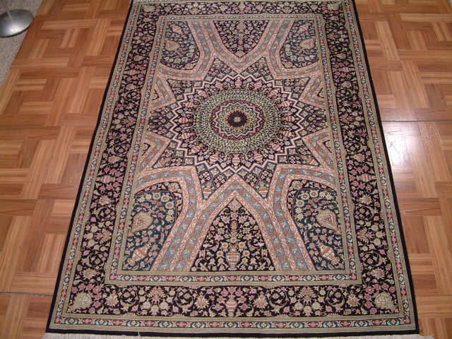 Qom PURE SILK Persian rug #3176, click on the picture or description for more details about the Persian carpets.