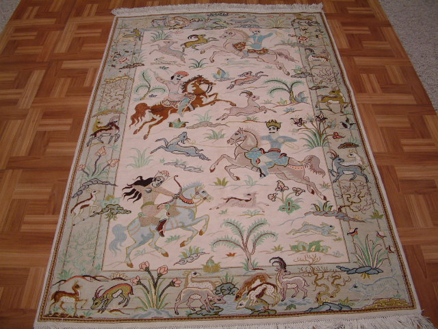 Qom Persian rug #3193, click on the picture or description for more details about the Persian carpets.