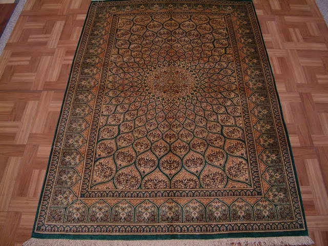 Qom PURE SILK Persian rug #3196, click on the picture or description for more details about the Persian carpets.