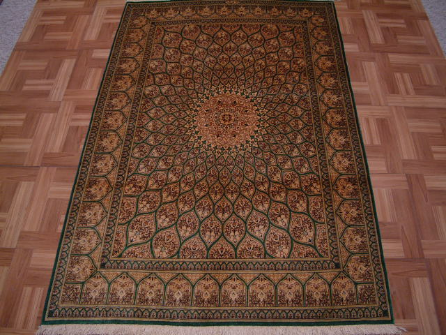 Qom PURE SILK Persian rug #3197, click on the picture or description for more details about the Persian carpets.