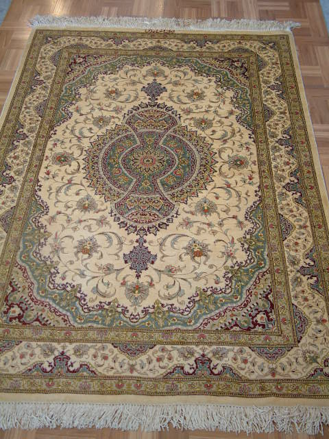 Qom PURE SILK Persian rug #3201, click on the picture or description for more details about the Persian carpets.