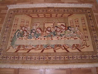 Qom PURE SILK Qom Persian rug with the last supper design. Biblical qum persian carpet.