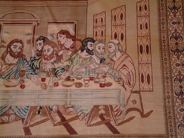 Biblical Qom Persian rug; Last Supper qum Persian Rugs are genuine handmade. Also, every Persian Qom rug I offer is made with pure silk only.