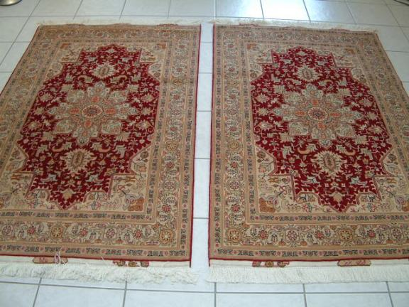 Twin set Tabriz Persian rugs #3138, click on the picture or description for more details about the Persian carpets.