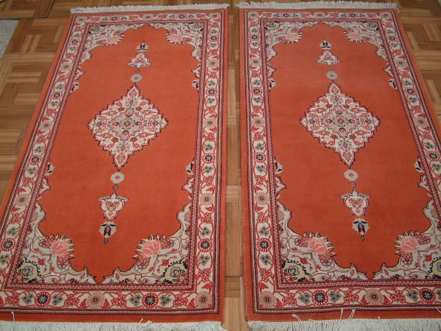 twin Tabriz Persian rugs; All Persian Rugs are genuine handmade. Also, every Persian Tabriz rug I offer is made with fine kurkwool/silk.