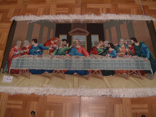 last supper pictorial Tabriz Persian rug; All Persian Rugs are genuine handmade. Also, every Persian Tabriz rug I offer is made with fine kurkwool/silk.