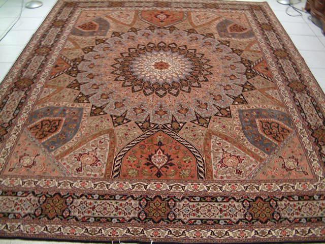 Many Qom silk Persian rugs. Pure Silk Qum Persian carpets with silk