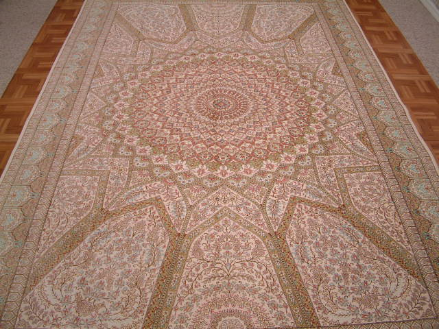 Qom Persian rug #5151, click on the picture or description for more details about the Persian carpets.