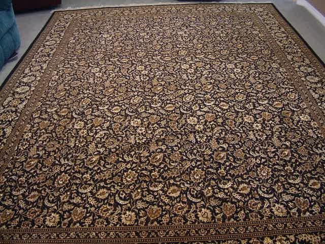 Black Tabriz Persian rug with 400KPSI, silk foundation 13x10 black gold Tabriz Persian carpet.