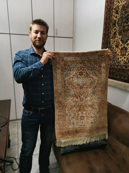 Hereke Silk Persian rug client in Namibia