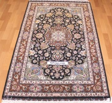 5x3 handmade silk Tabriz Persian rug; Genuine high quality Tabriz Persian rug