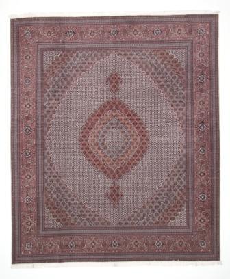 Beige brown Mahi Tabriz Persian rug. 12x10 Mahi Tabriz Persian carpet.