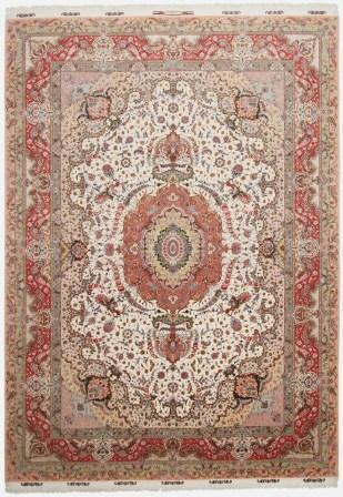 70 Raj Behnam Tabriz Persian rug with a silk foundation. 70Raj Beige Behnam Tabriz Persian carpet.