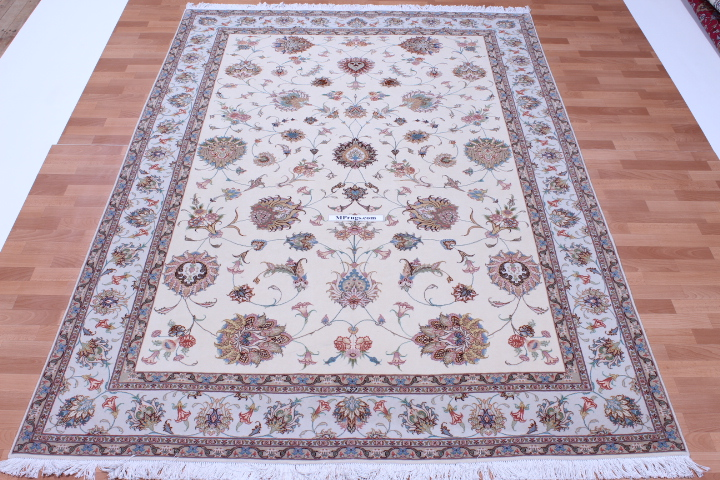 50 Raj Faraji Tabriz Persian rug with 350 KPSI. 10x6 silk Faraji Tabriz Persian carpet