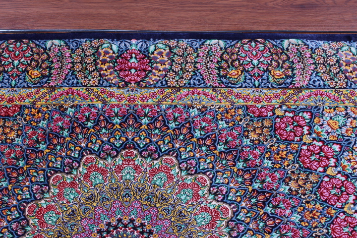 5'x3' pure silk Qum Persian rug with Gonbad Design 750 KPSI